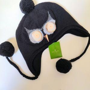 NWT Kate Spade New York Night Owl Black Winter Hat